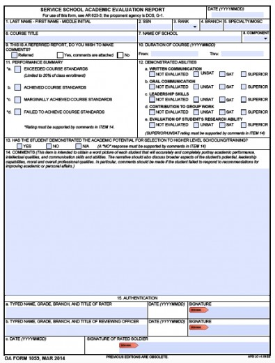 Download DA Form 1059 Service School Academic Evaluation Report - da form