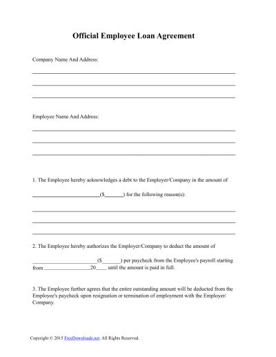 Download Employee Loan Agreement Template | PDF | RTF | Word | FreeDownloads.net