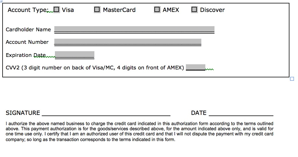 Download One (1) Time Credit Card Authorization Payment Form PDF - credit card authorization forms
