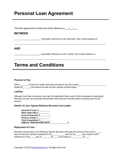 Download Personal Loan Agreement Template | PDF | RTF | Word | FreeDownloads.net