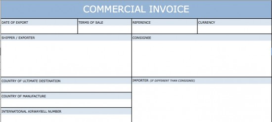 Download Blank International Commercial Invoice Templates Excel - comercial invoice template