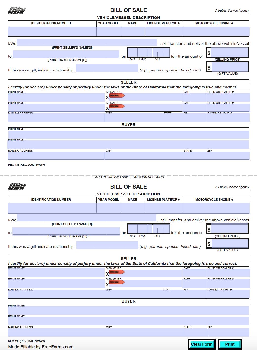 bill of sale vehicle california