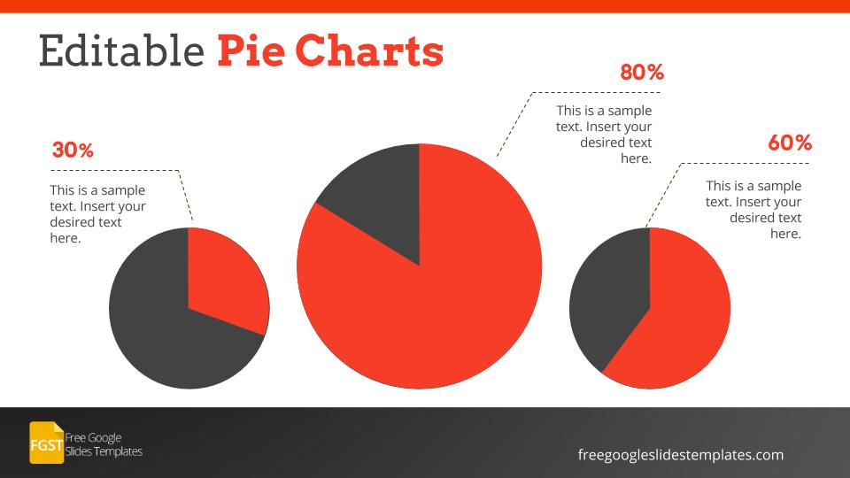 Professional Corporate Google Slide Template Pie Charts - Free - pie chart templates