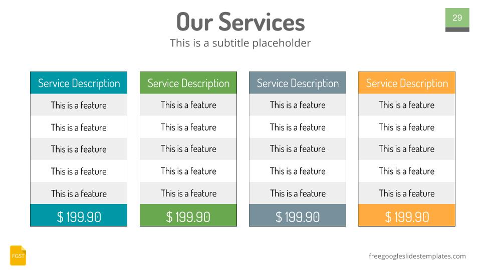 Google Slides Themes Plans and Pricing Table - Free Google Slides - pricing table templates