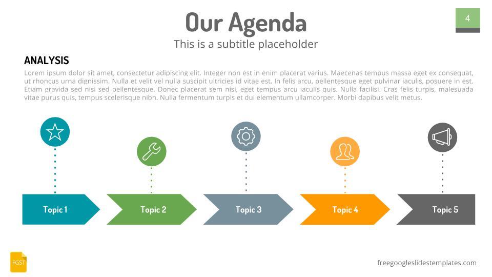 Our Agenda Slides Design Chevron - Free Google Slides Templates