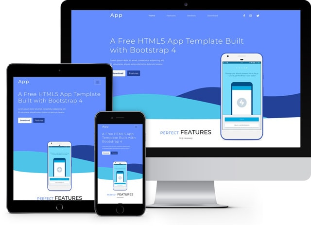 App Free HTML5 App Template Built with Bootstrap 4 - FreeHTML5