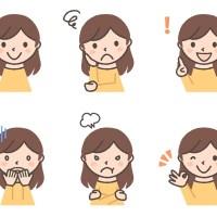 セミロングヘアの若い女性の表情イラスト6種