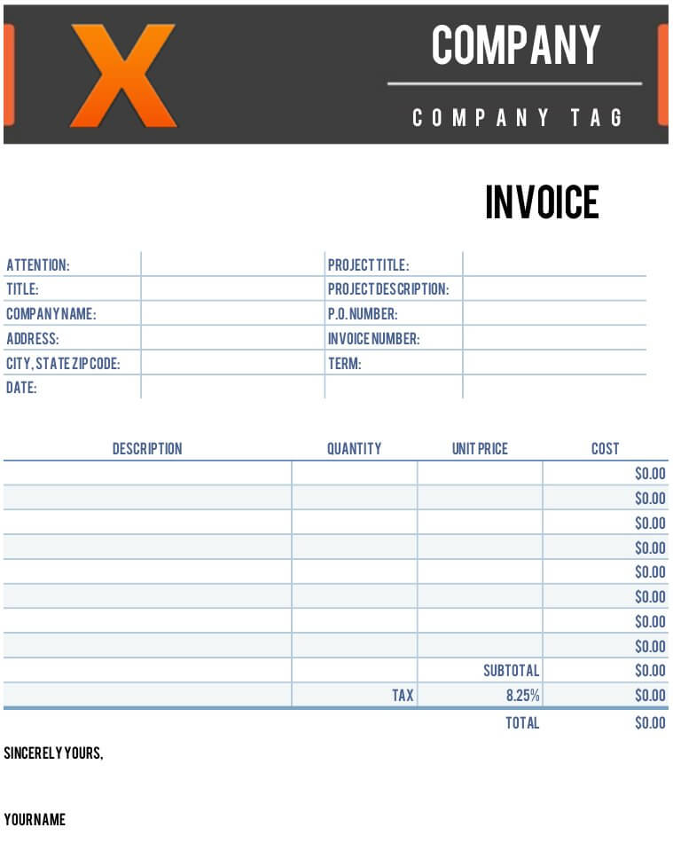 X Invoice Template for Numbers - Free iWork Templates