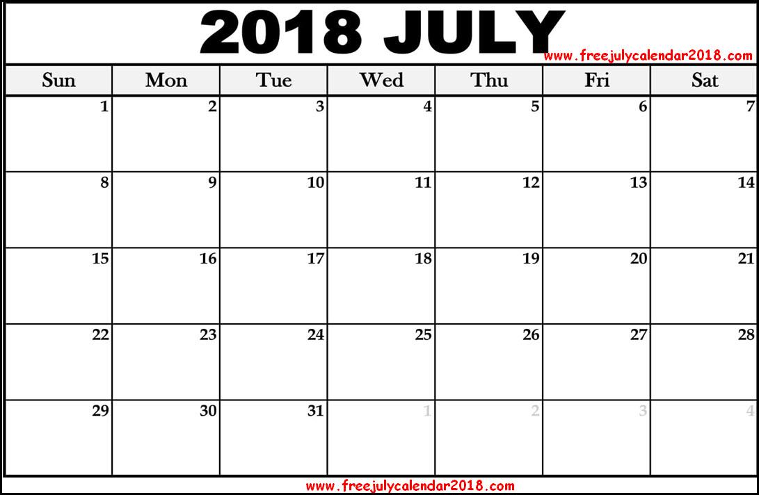 ✅ {60+} Free July 2018 Calendar Printable Blank Templates Holidays
