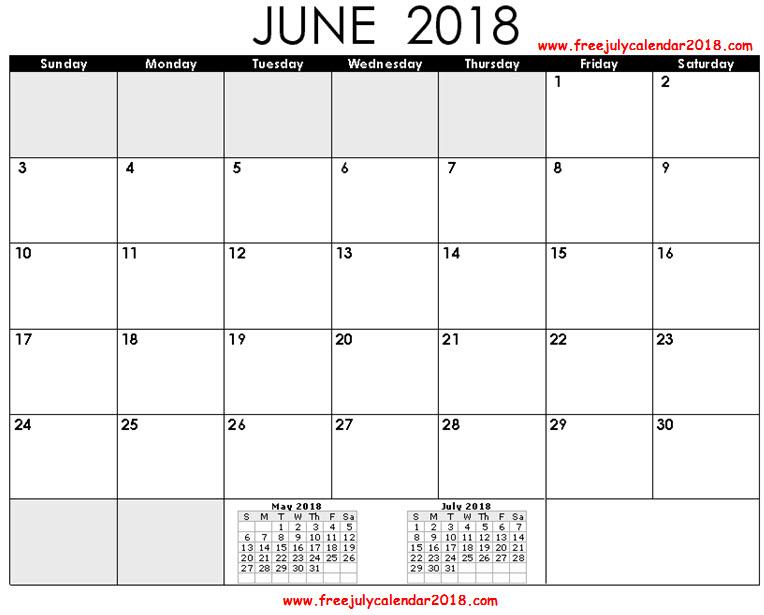 Decorative June 2018 Calendar PDF Page Excel Word Floral Wallpaper
