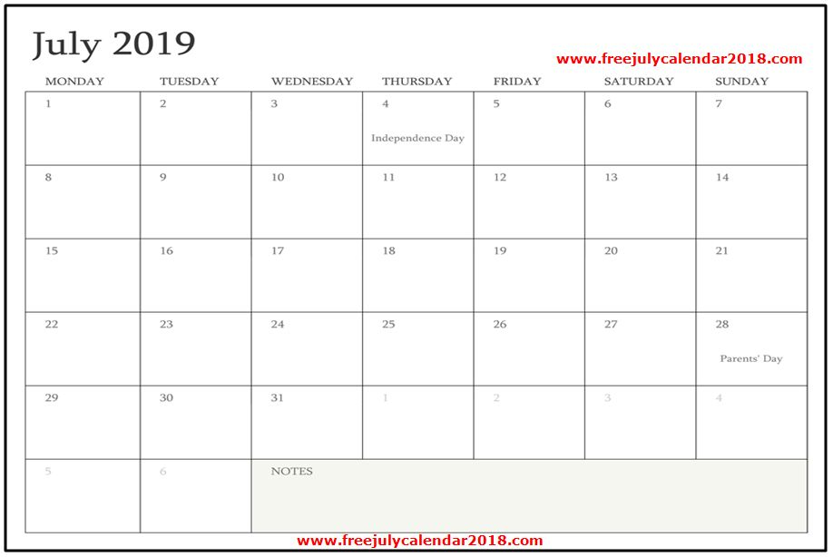 ✅ {60+} Free July 2019 Calendar Printable Blank Templates Holidays