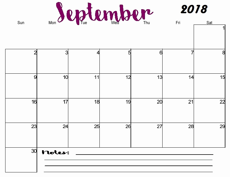 Free September 2018 Calendar Printable Blank Templates PDF Page
