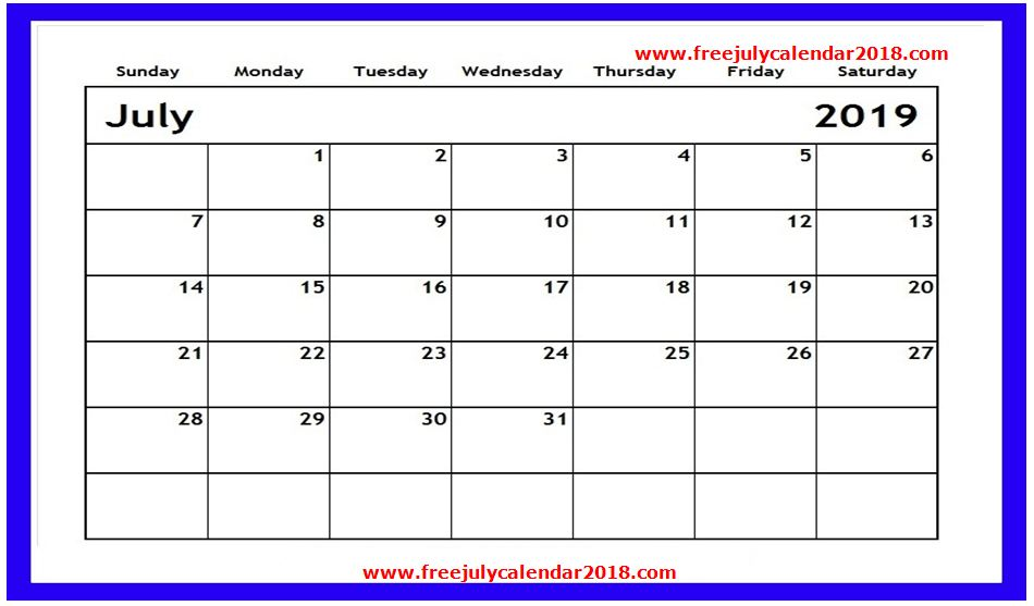 ✅ {60+} Free July 2019 Calendar Printable Blank Templates Holidays