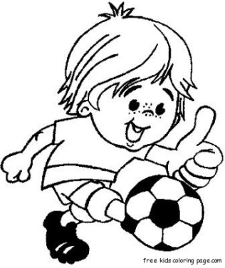 Boy Kicking A Soccer Ball Kids Coloring Pages