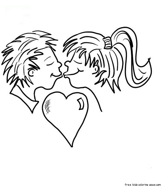So Sweet Girl Wallpaper Printabel Valentine Couple Kissing Coloring Pages For