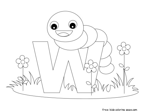 printable alphabet letters with animals letters w is for wormFree