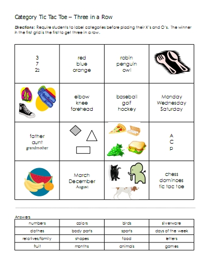Categories u2013 word lists, activities, worksheets, and more Free - sample tic tac toe template
