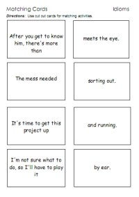 Idioms  word lists, worksheets, activities, and more