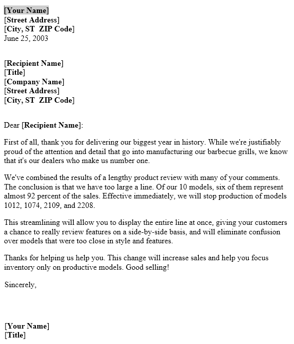 Discontinued Product Notice \u2013 Letter Template Useful Letters Templates - product sales letter sample