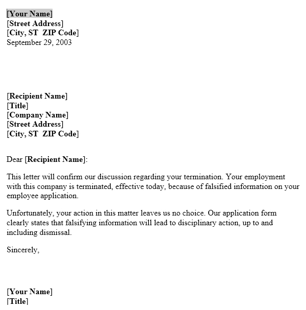 Falsifying Information Termination Notice Template Useful Letters - termination notice template