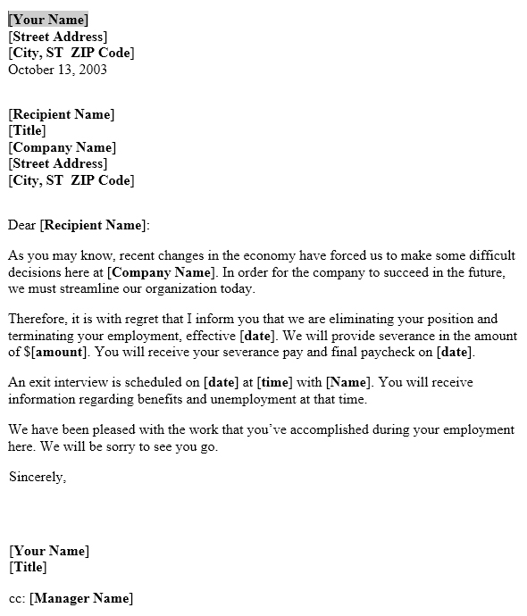 Notice Of Layoff Letter Template Useful Letters Templates - layoff notice template