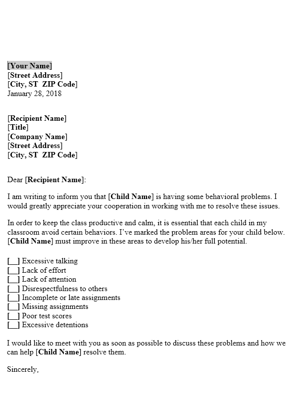 Letter to Parents about Student\u0027s Behaviour in Classroom Useful - teacher letter to parents about behavior problems