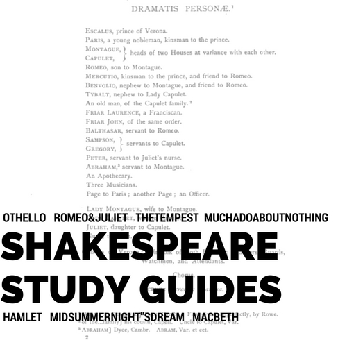 Free Shakespeare Study Guides for 7 Plays!