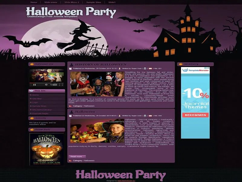 Halloween Party - Free Joomla Template For Halloween Party - halloween website template