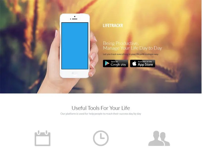 LifeTrakr Free App Landing Page HTML Template