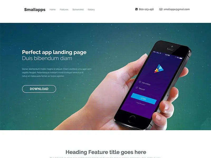 Small App Bootstrap 3 App Landing Page Template - app landing page template