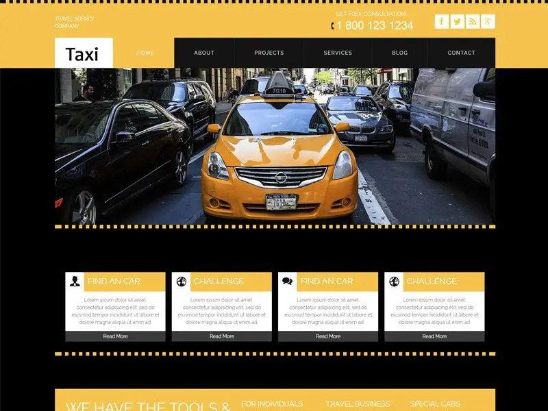 Taxi Free Responsive Car Bootstrap Template - Freemium Download