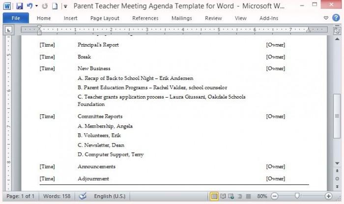 agenda template microsoft word