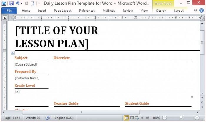 Microsoft Word Template for Making Daily Lesson Plans - lesson plan words