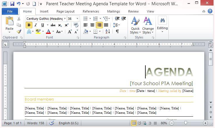 parent meeting agenda template - Jolivibramusic