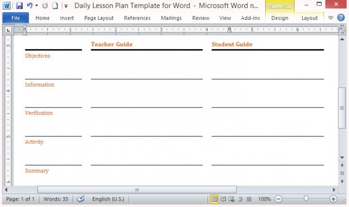 Daily Five Lesson Plan Template Costumepartyrun