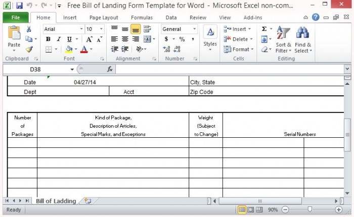 Free Bill of Lading Form Template for Excel - proof of delivery template