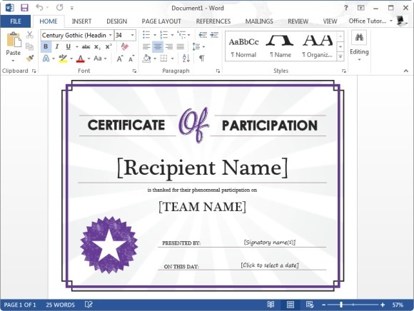 Certificate Of Participation Template for Microsoft Word - microsoft templates certificates