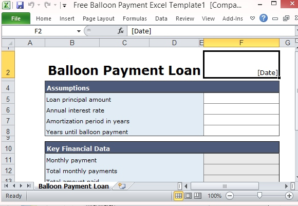 Free Balloon Payment Calculator Excel Template Form - baloon payment calculator