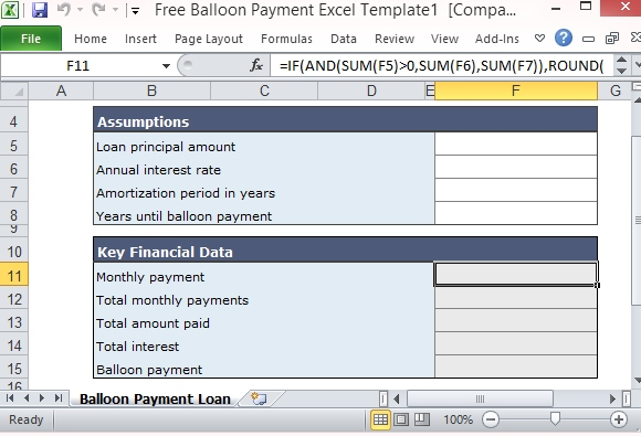 Free Balloon Payment Calculator Excel Template Form - loan payment calculator