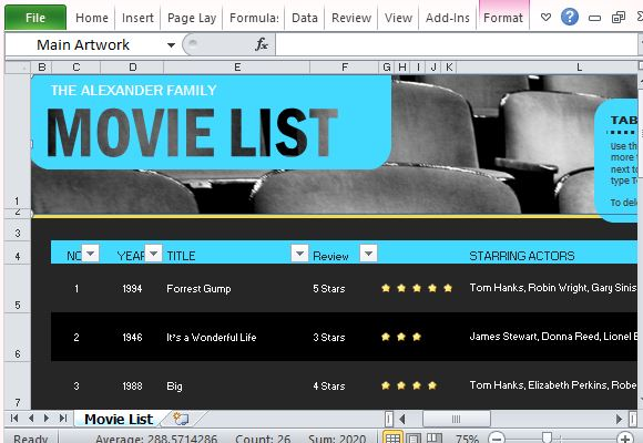 Movie List Maker for Excel