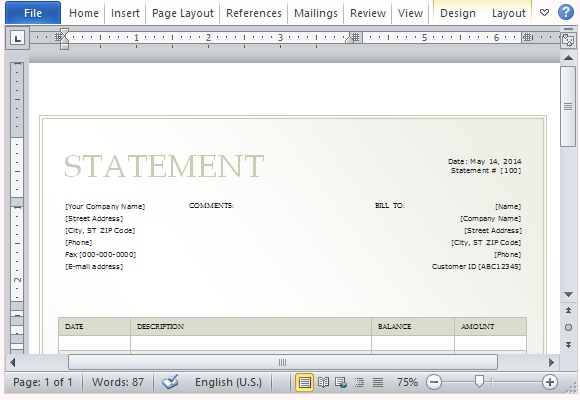 Billing Statement Template for Microsoft Word