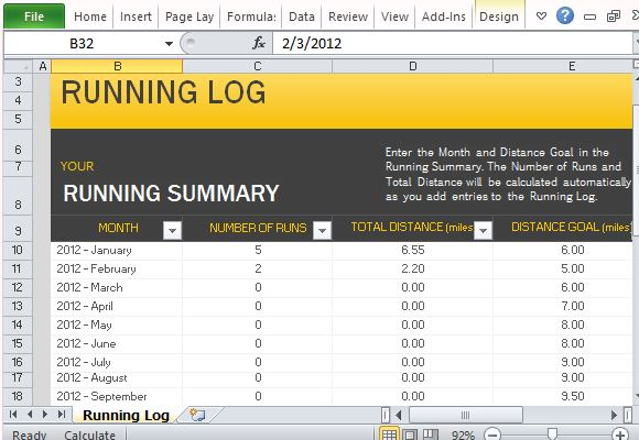 Free Running Log Template for Microsoft Excel - log templates excel