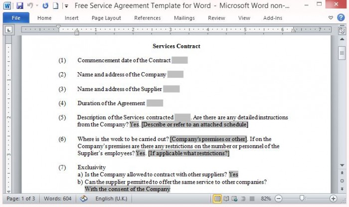 Free Service Contract Template - service contract form