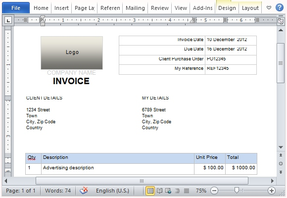 Free Invoice Template for Microsoft Word - invoice templates for microsoft word