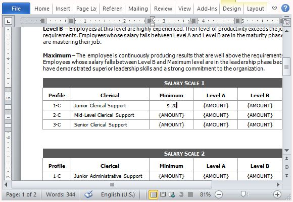 Salary Comparison Form Template for Word
