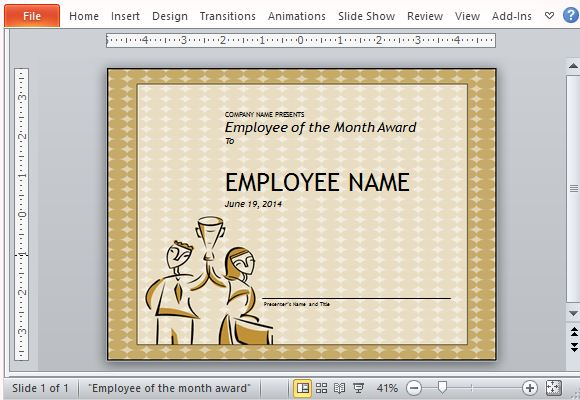 employee of month certificate template