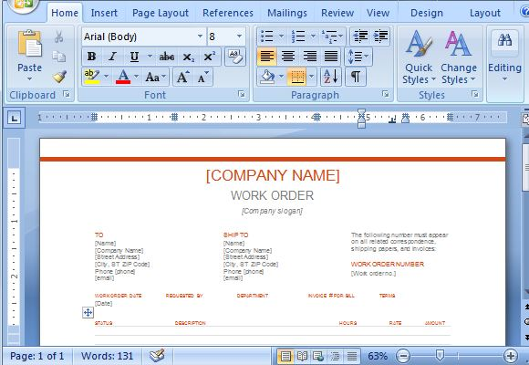 Free Work Order Template for Microsoft Word 2013