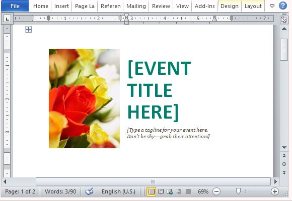 Event Postcard Template for Word