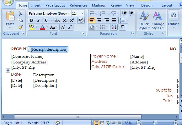 How To Create Instant Receipts in Microsoft Word - create a receipt in word