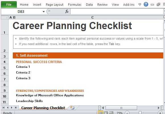Career Planning Checklist Template for Excel - how to plan your career path